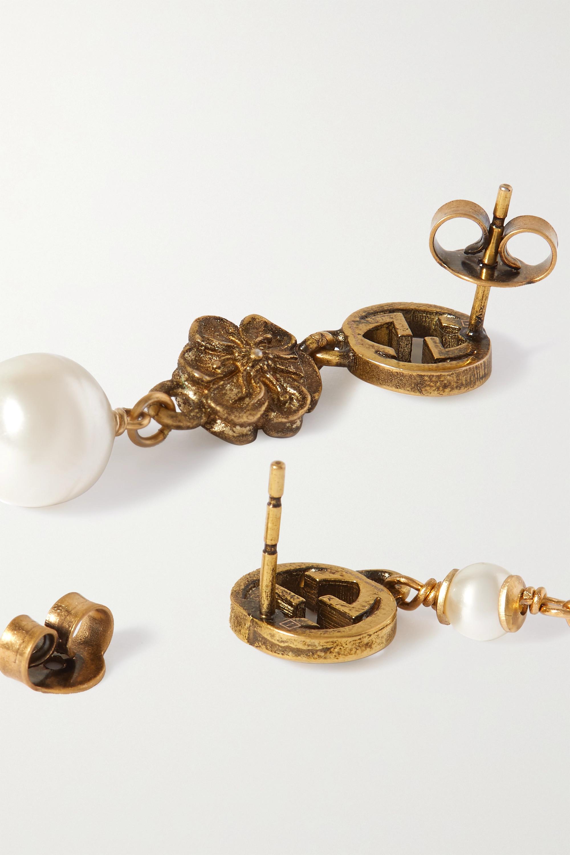 Gucci Boucles d'oreilles en métal doré et perles synthétiques