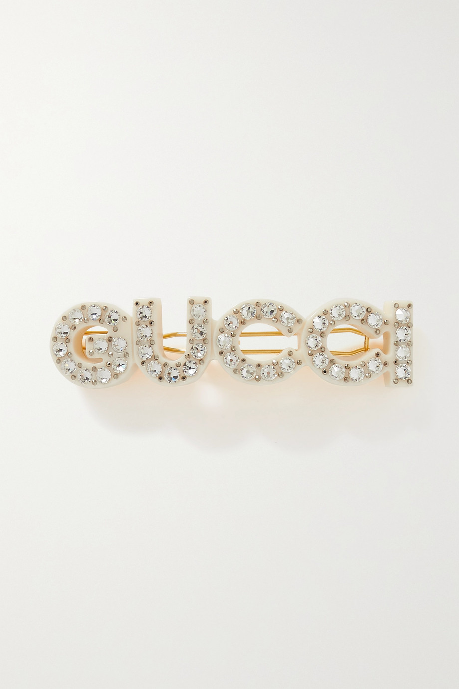 Gucci Small crystal-embellished resin and gold-tone hair clip
