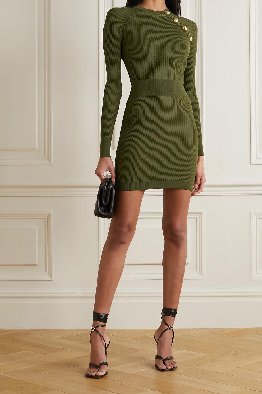 Balmain Button-embellished pointelle-knit mini dress