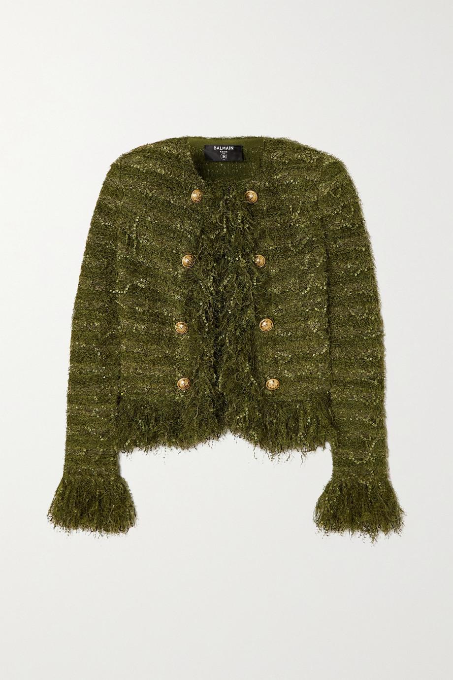 Balmain Fringed tweed jacket