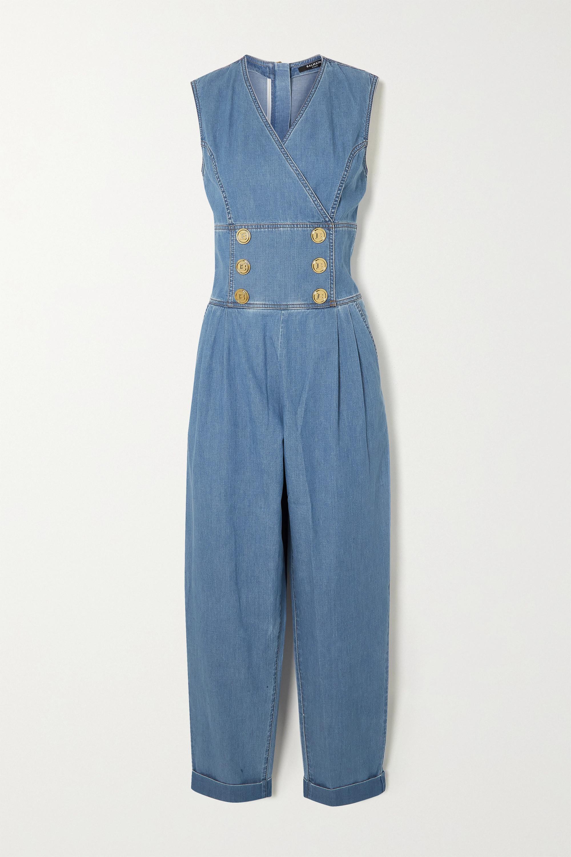 Balmain Combi-pantalon en jean à boutons