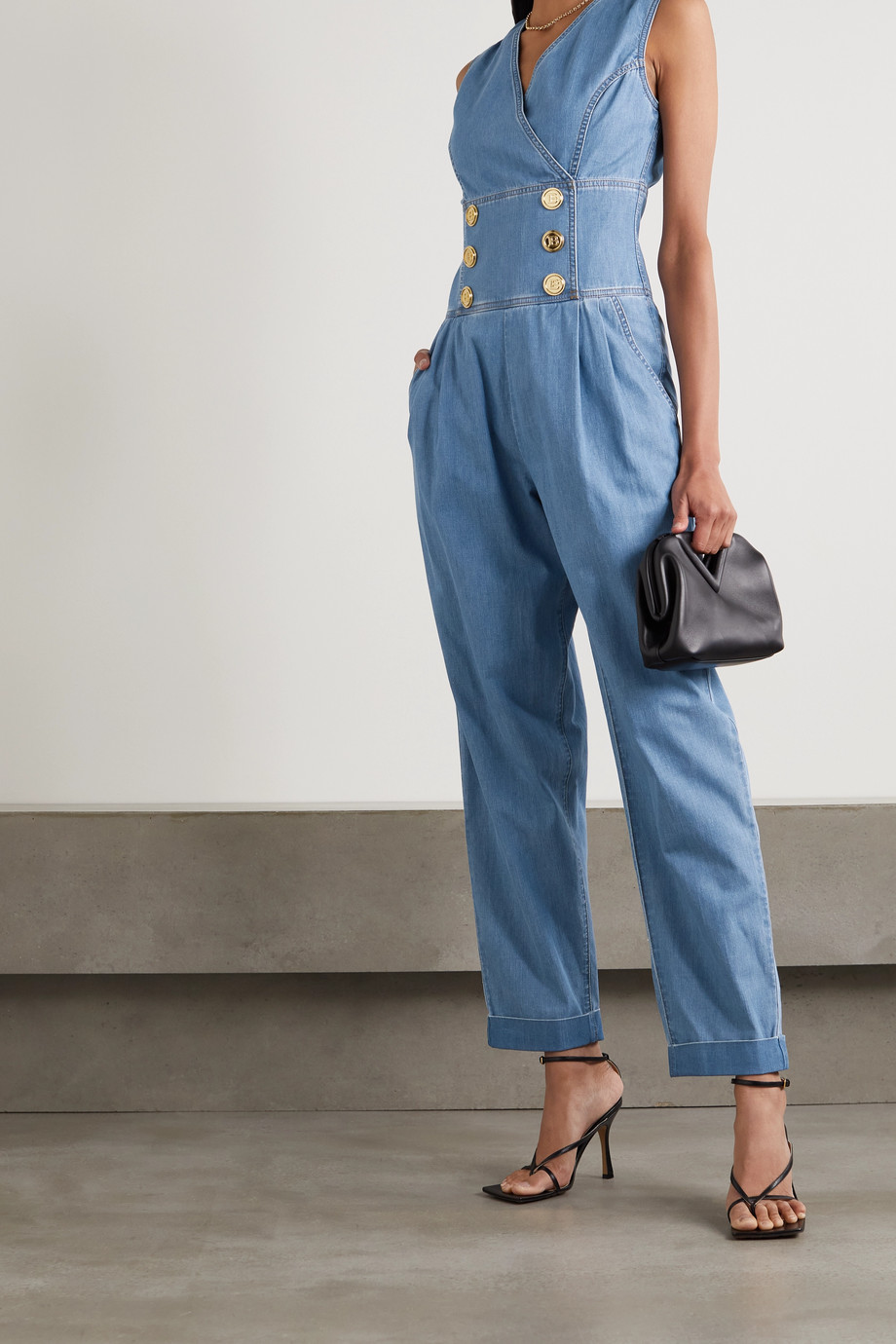 Balmain Button-embellished denim jumpsuit