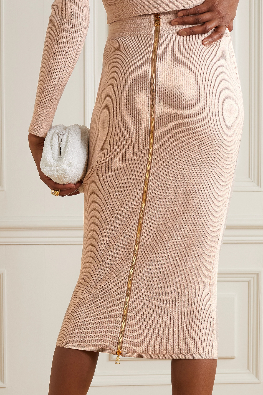 Balmain Button-embellished ribbed-knit midi skirt