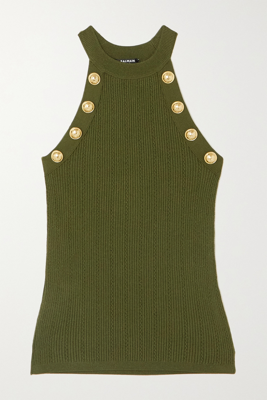 Balmain Button-embellished ribbed-knit tank