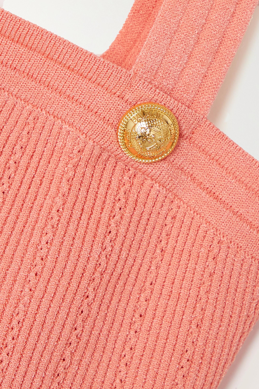 Balmain Haut raccourci en mailles côtelées à boutons