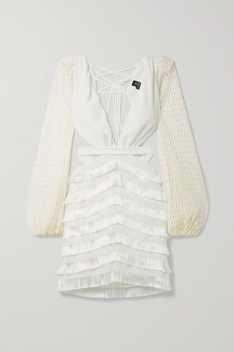 PatBO Mini-robe en jersey satiné et en mailles crochetées à découpes et à franges