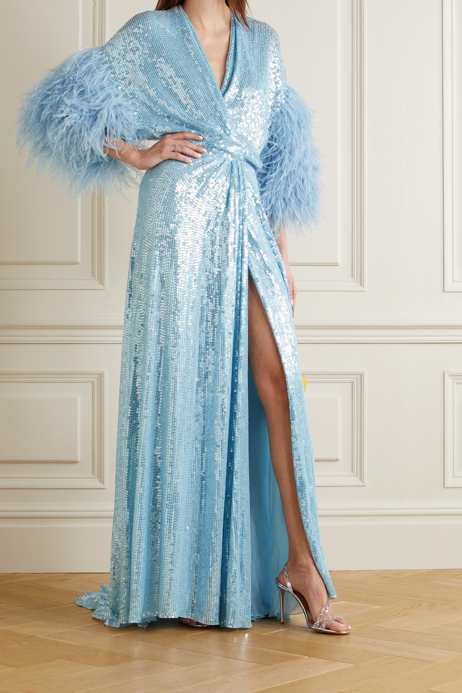 Jenny Packham Feather-trimmed sequined georgette gown