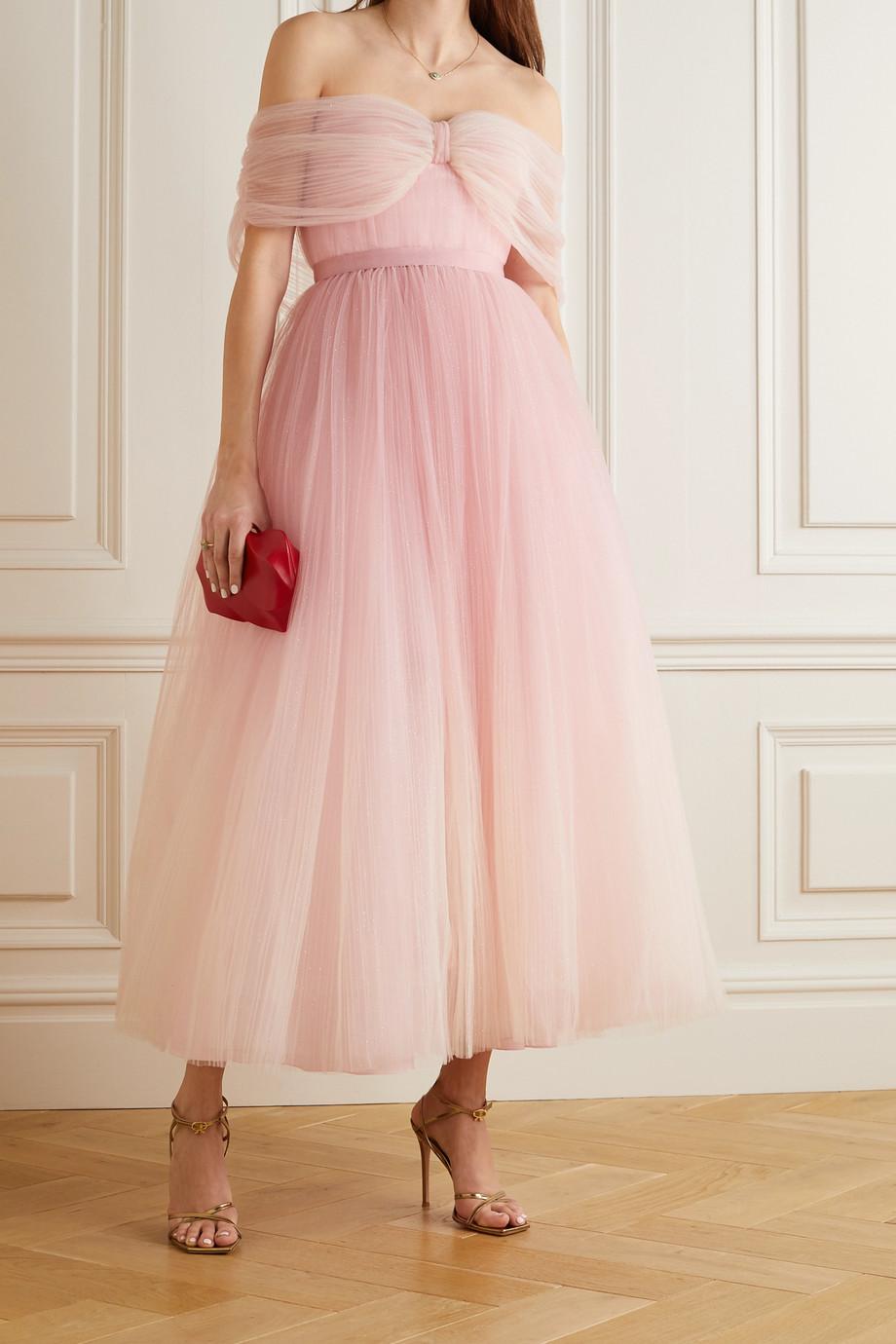 Jenny Packham Off-the-shoulder ombré glittered tulle midi dress
