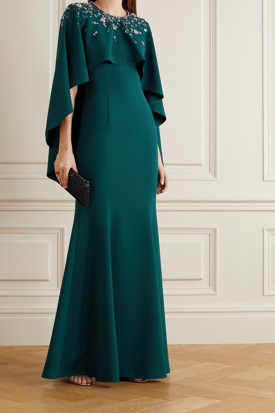 Jenny Packham Embellished cape-effect crepe gown