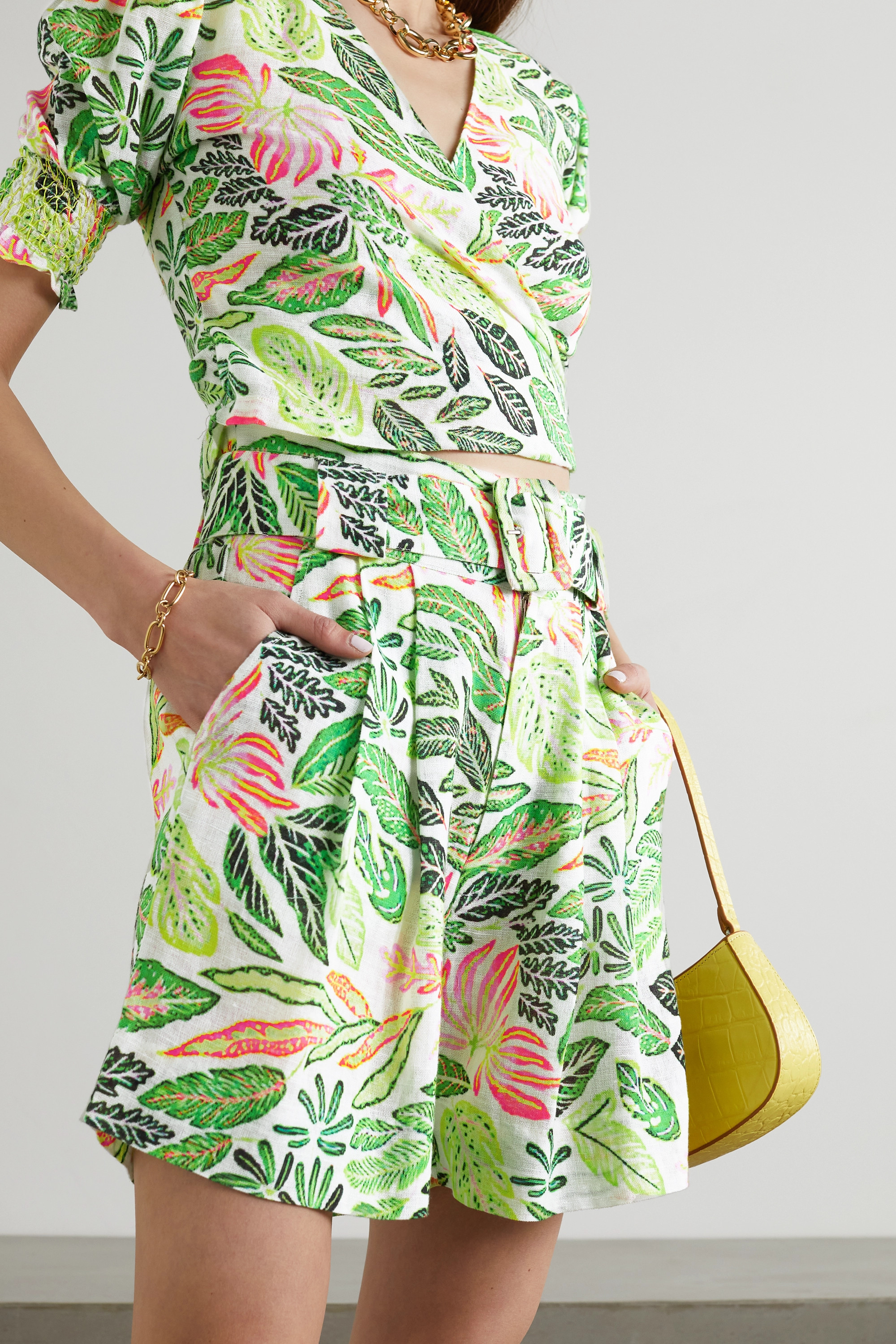 Solid & Striped The Talia belted printed cotton and linen-blend shorts