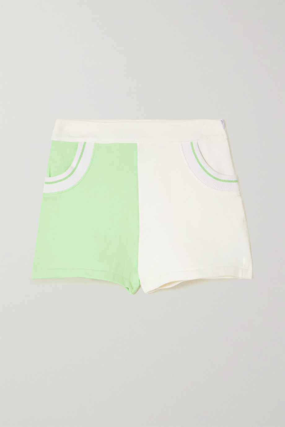 Solid & Striped Sophie two-tone cotton-blend terry shorts
