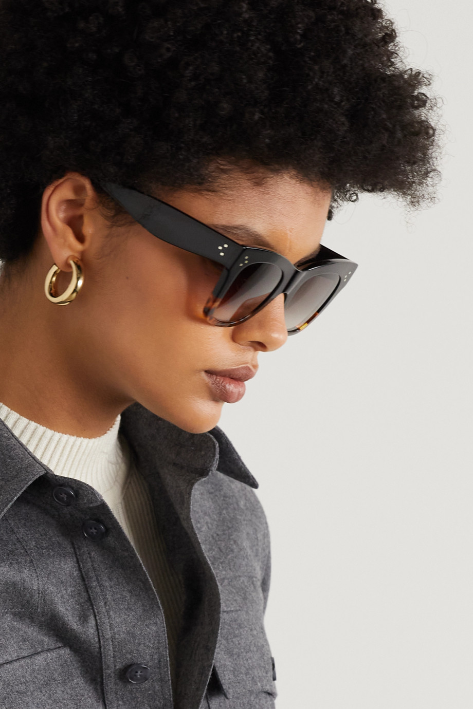 Celine Oversized cat-eye tortoiseshell acetate sunglasses