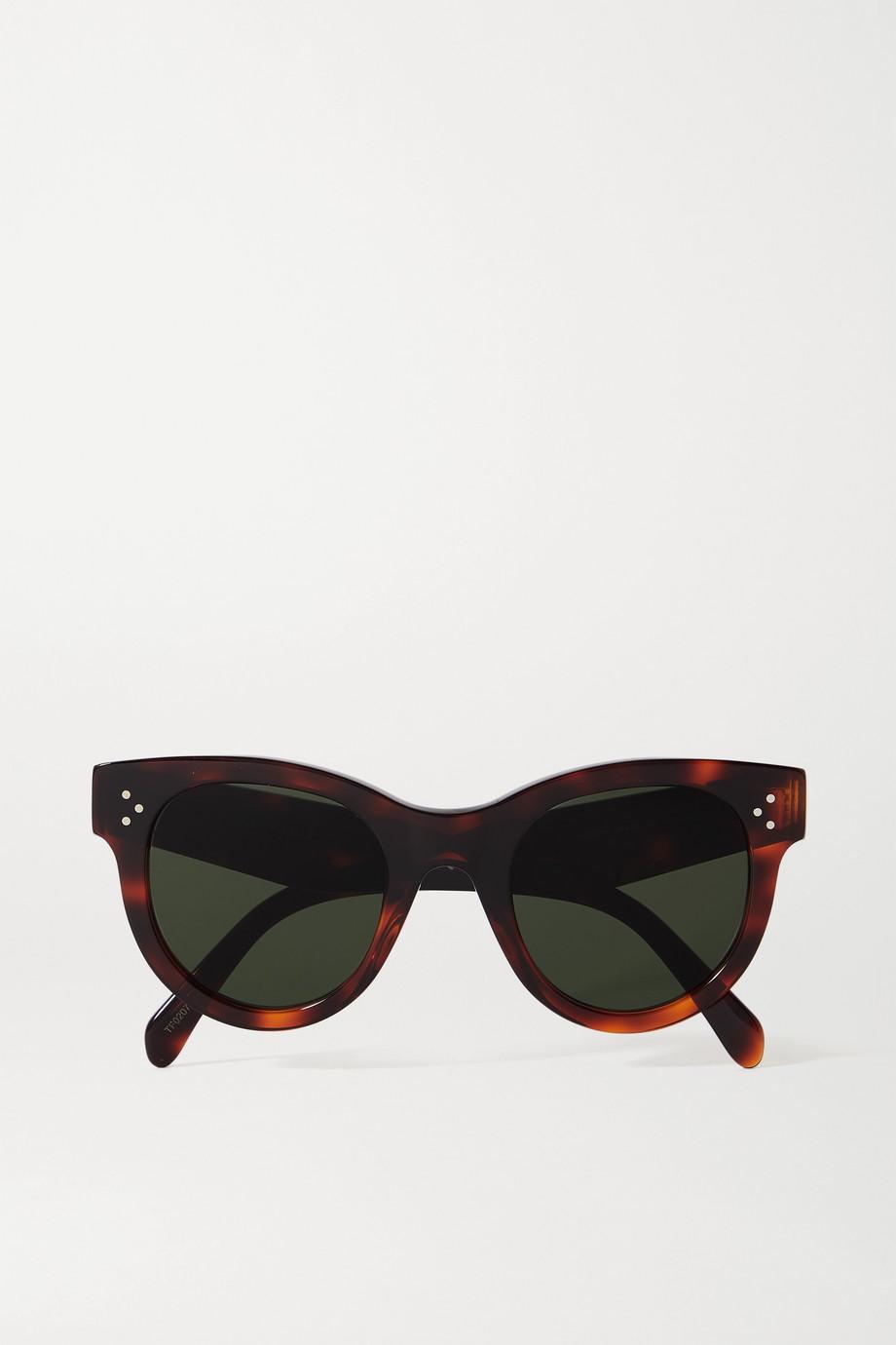 Celine Sonnenbrille mit rundem Rahmen aus Azetat in Hornoptik
