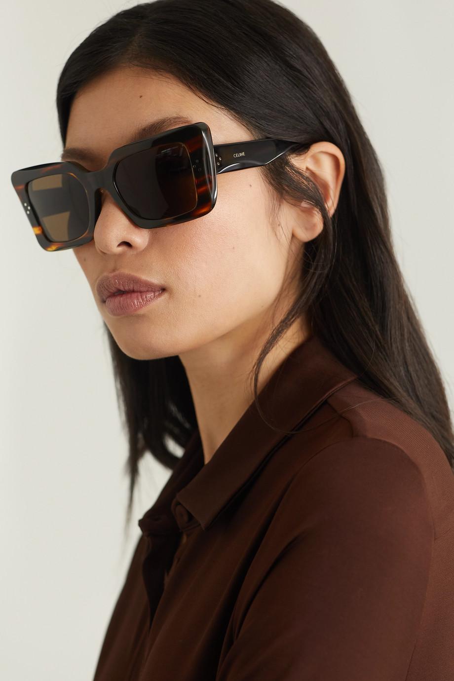 CELINE Eyewear Oversized square-frame leopard-print acetate sunglasses