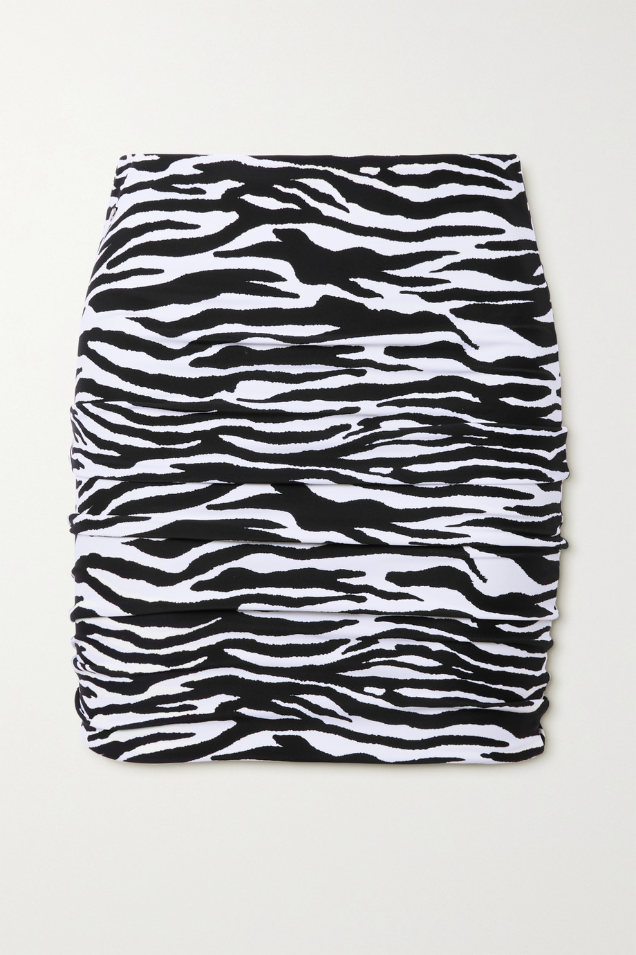The Attico Ruched zebra-print stretch-jersey mini skirt