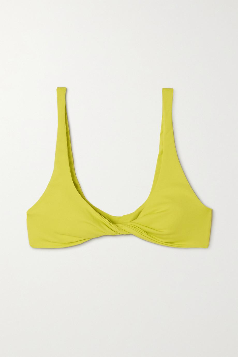The Attico Twisted ribbed triangle bikini top