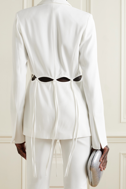 Galvan Ellipse cutout satin-trimmed crepe blazer