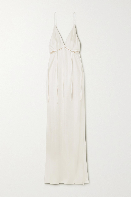 Galvan Ellipse cutout satin-trimmed jersey gown