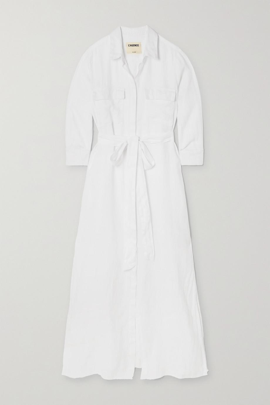 L'Agence Cameron Maxi-Hemdblusenkleid aus Leinen mit Bindegürtel