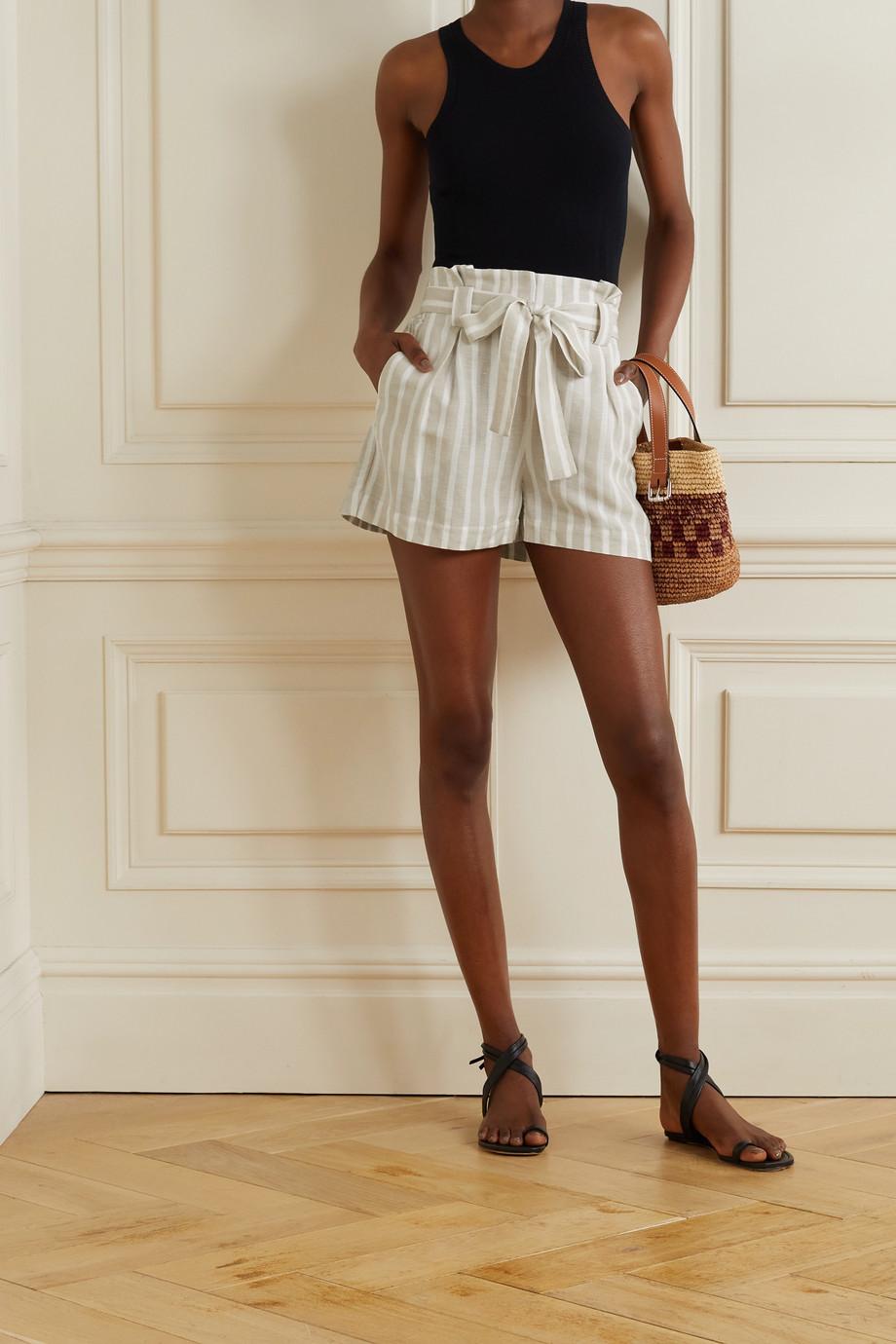 L'Agence Alex belted striped linen-blend shorts