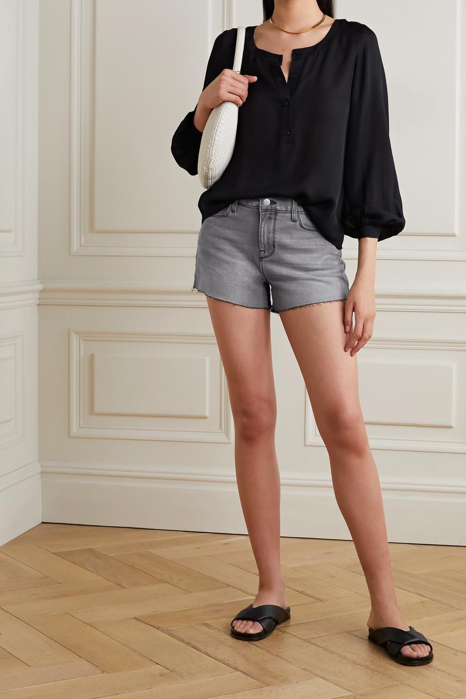 L'Agence Audrey frayed denim shorts