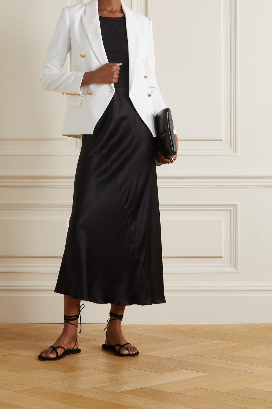 L'Agence Kenzie double-breasted crepe blazer