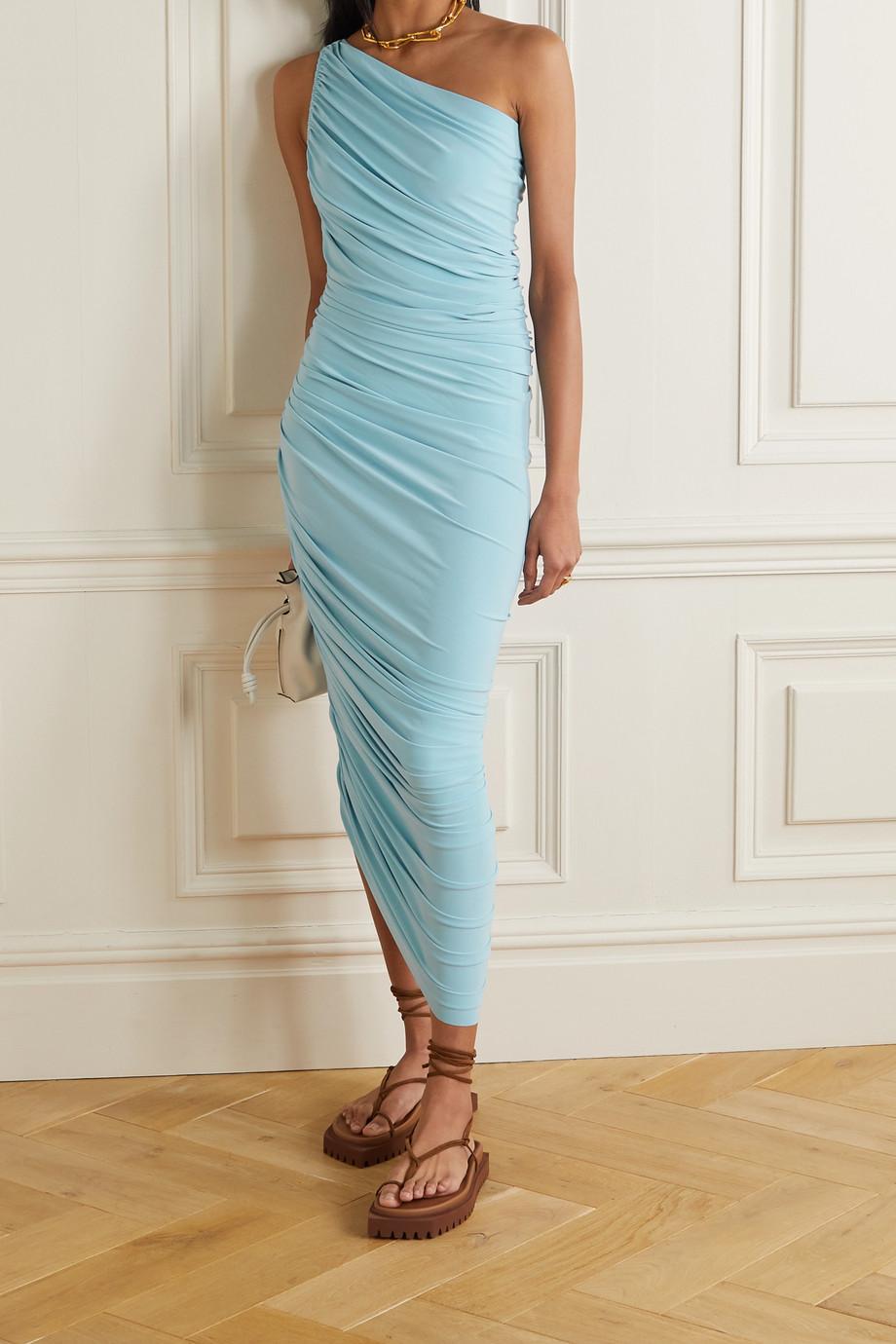 Norma Kamali Diana one-shoulder ruched stretch-jersey dress
