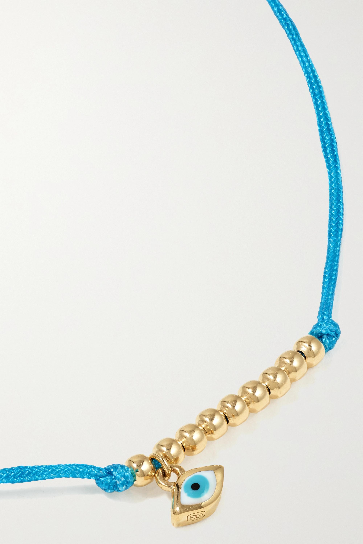Sydney Evan Evil Eye 14-karat gold, cord and enamel bracelet