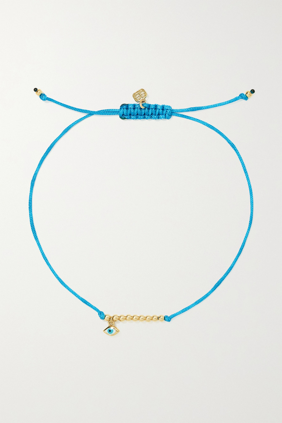Sydney Evan Evil Eye 14-karat gold, cord and enamel bracelet