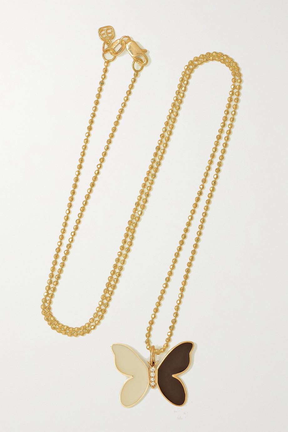 Sydney Evan 14-karat gold, enamel and diamond necklace