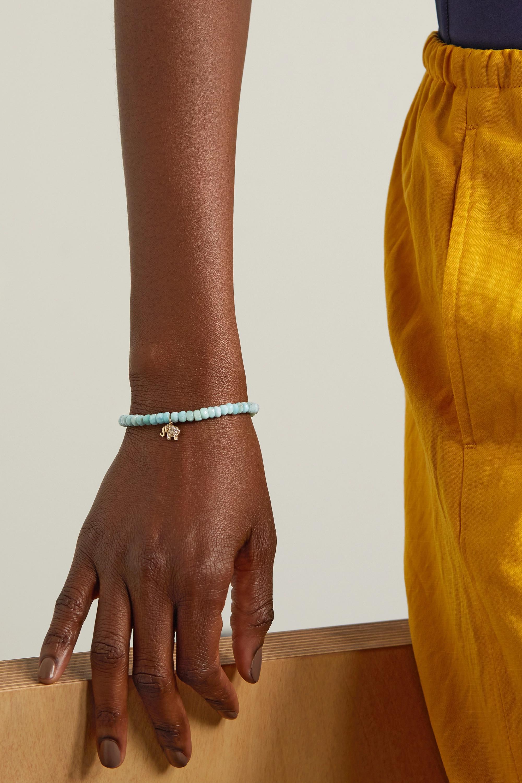 Sydney Evan Mini Elephant Armband mit Larimaren, Diamanten und Details aus 14 Karat Gold
