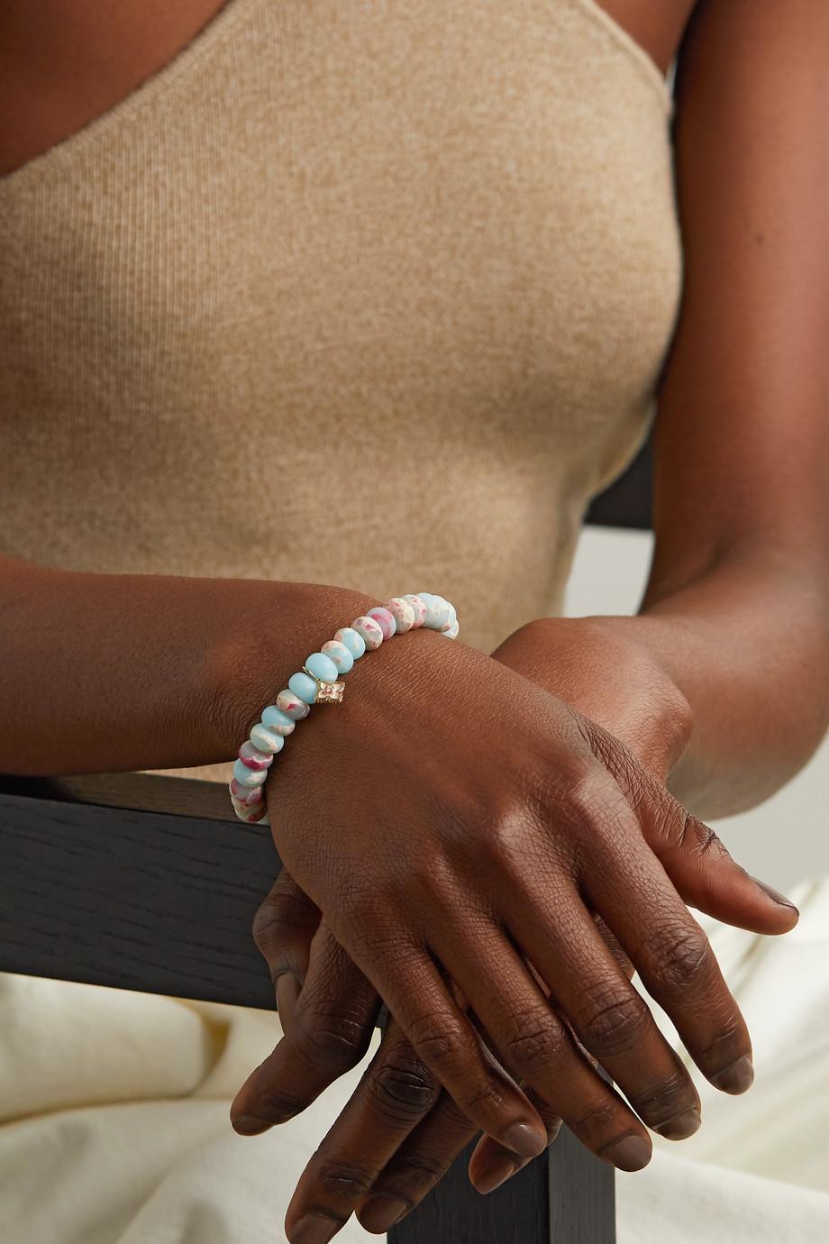 Sydney Evan Bracelet en or 14 carats (585/1000), jaspes, émail et diamant Moroccan Flower