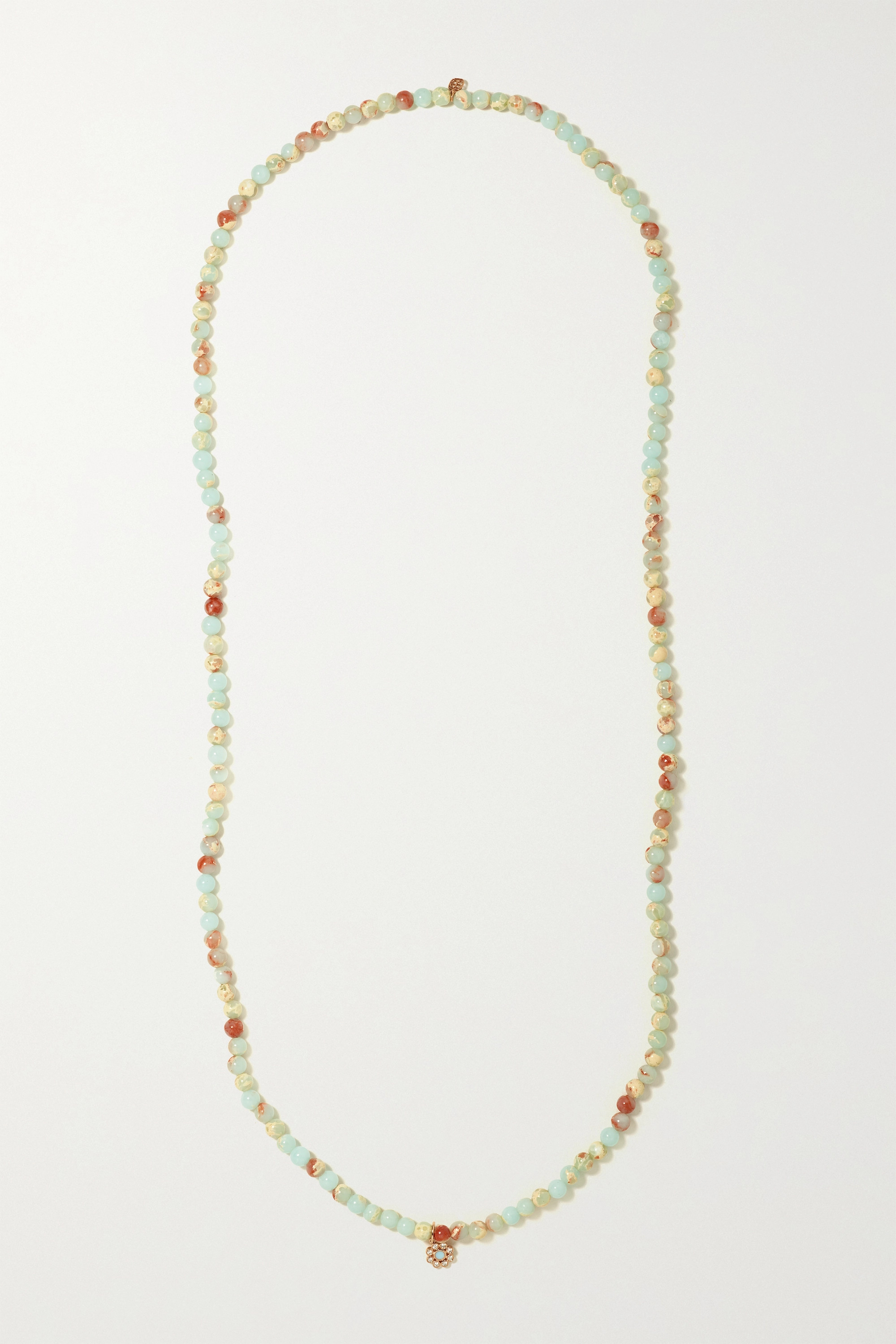 Sydney Evan - 14-karat rose gold, enamel, jasper and diamond necklace
