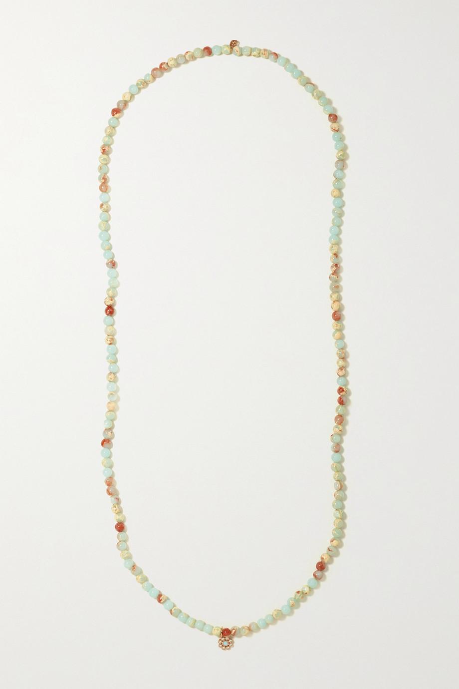 Sydney Evan Collier en or rose 14 carats (585/1000), émail, jaspes et diamants