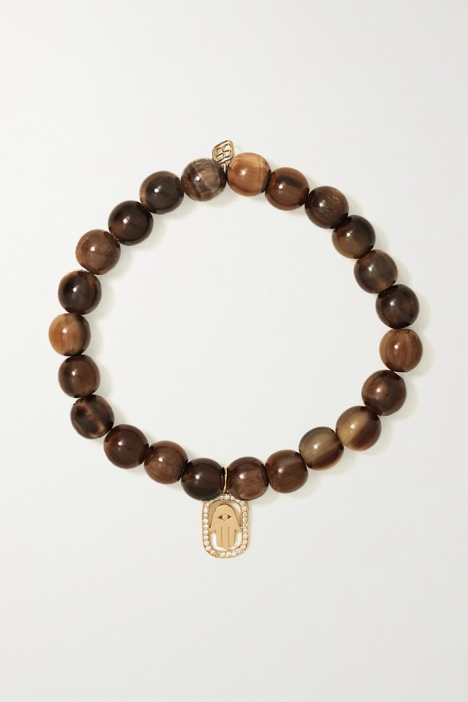 Sydney Evan Hamsa 14-karat gold, horn and diamond bracelet