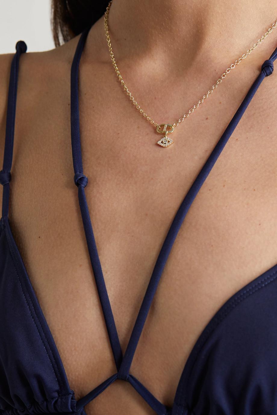 Sydney Evan Collier en or 14 carats recyclé et diamants Evil Eye