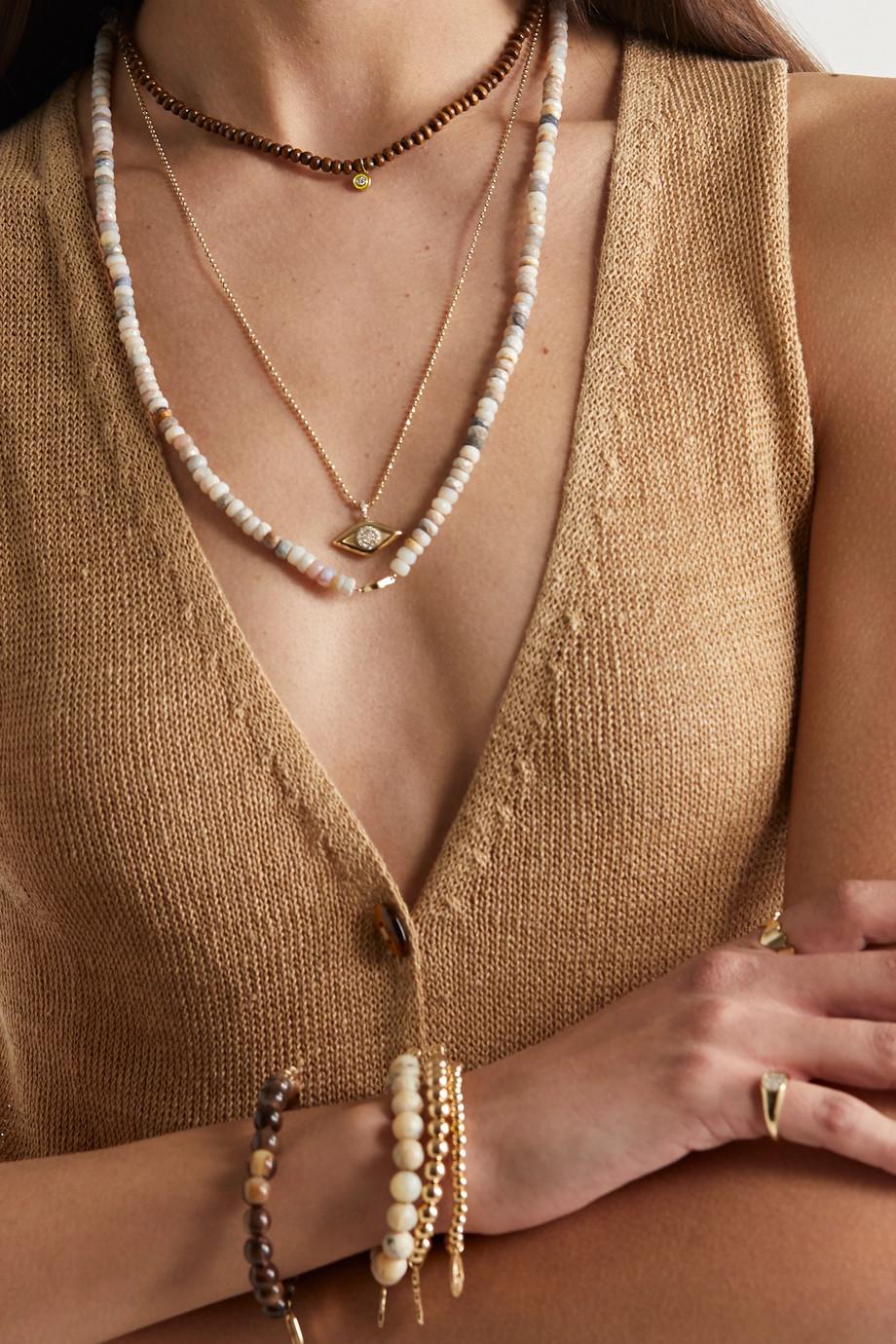 Sydney Evan 14-karat gold, wood, enamel and diamond necklace