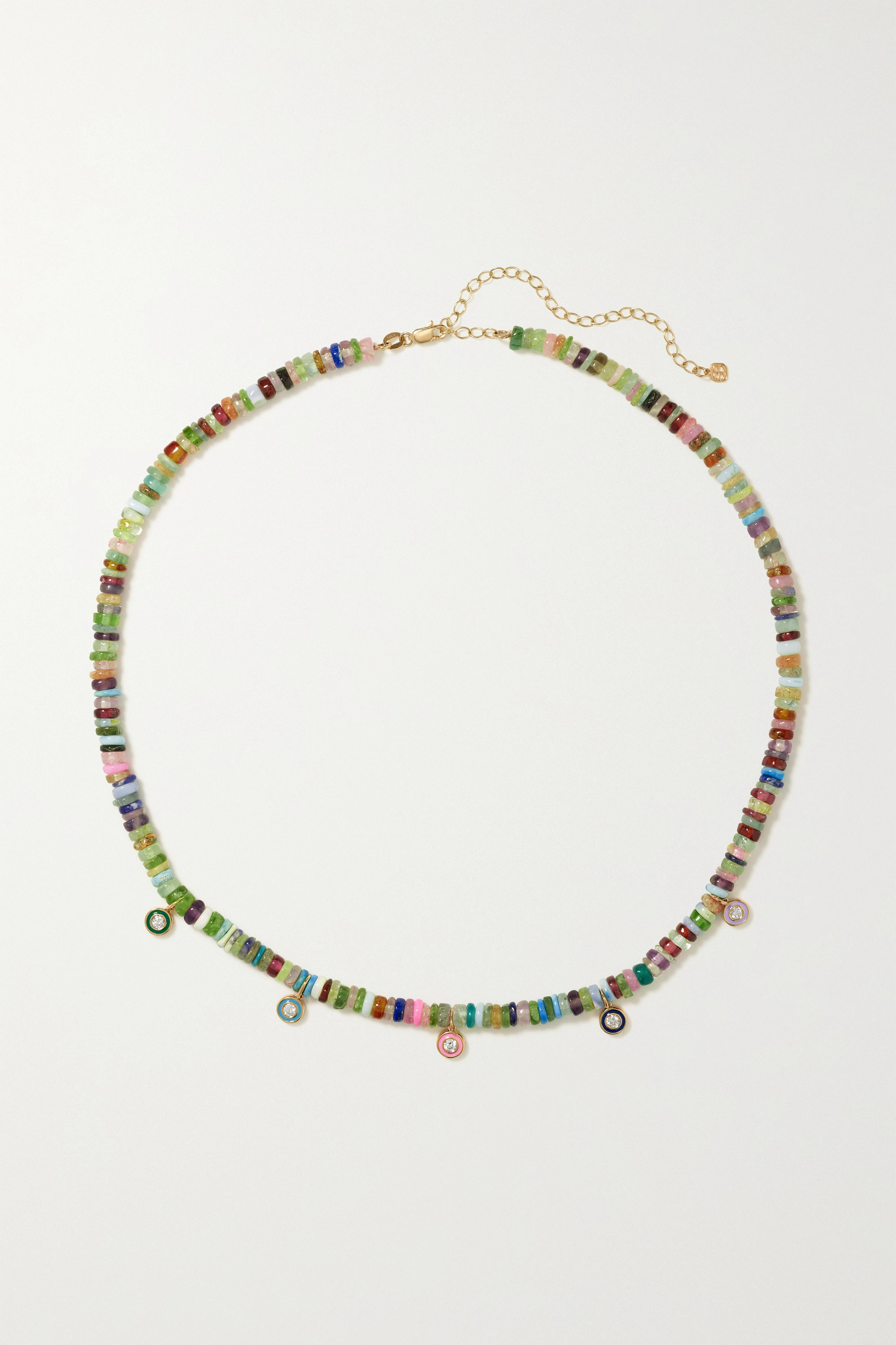 Sydney Evan - 14-karat gold, multi-stone and enamel necklace