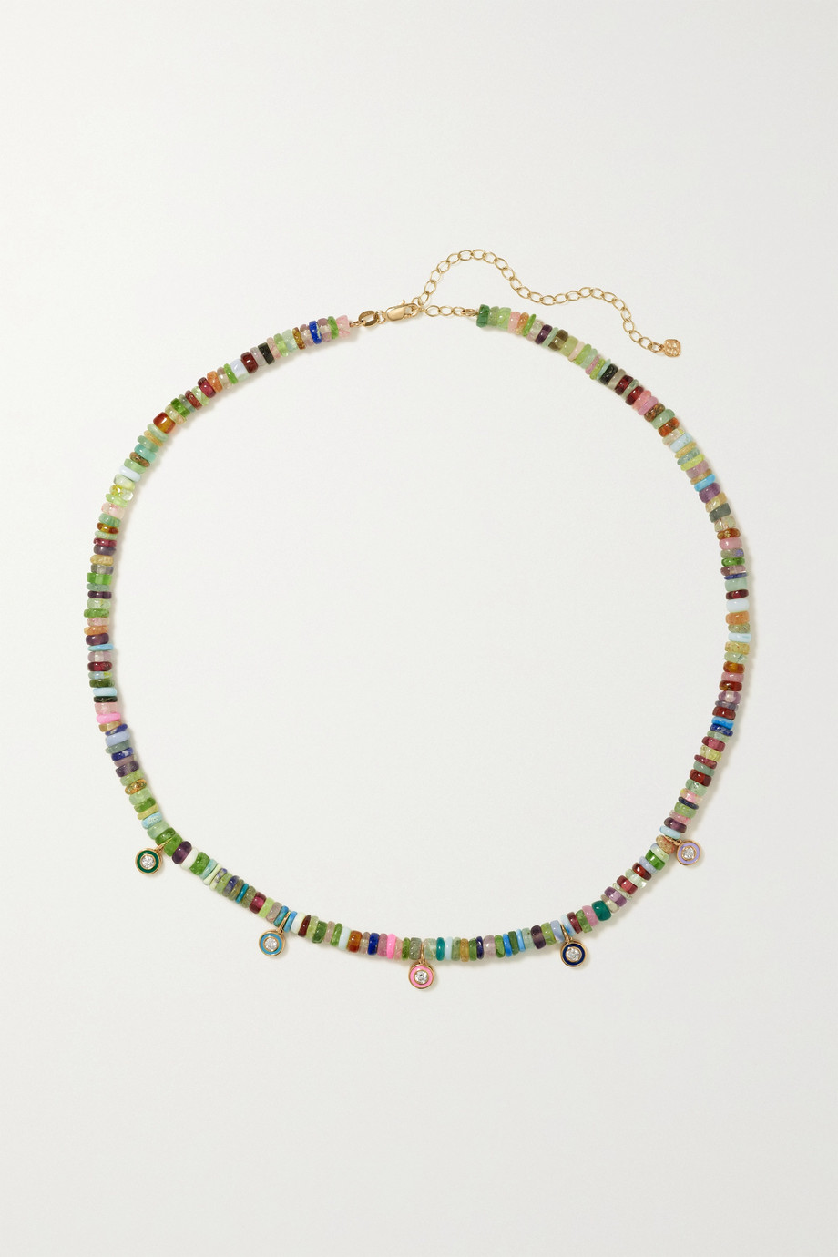 Sydney Evan 14-karat gold, multi-stone and enamel necklace