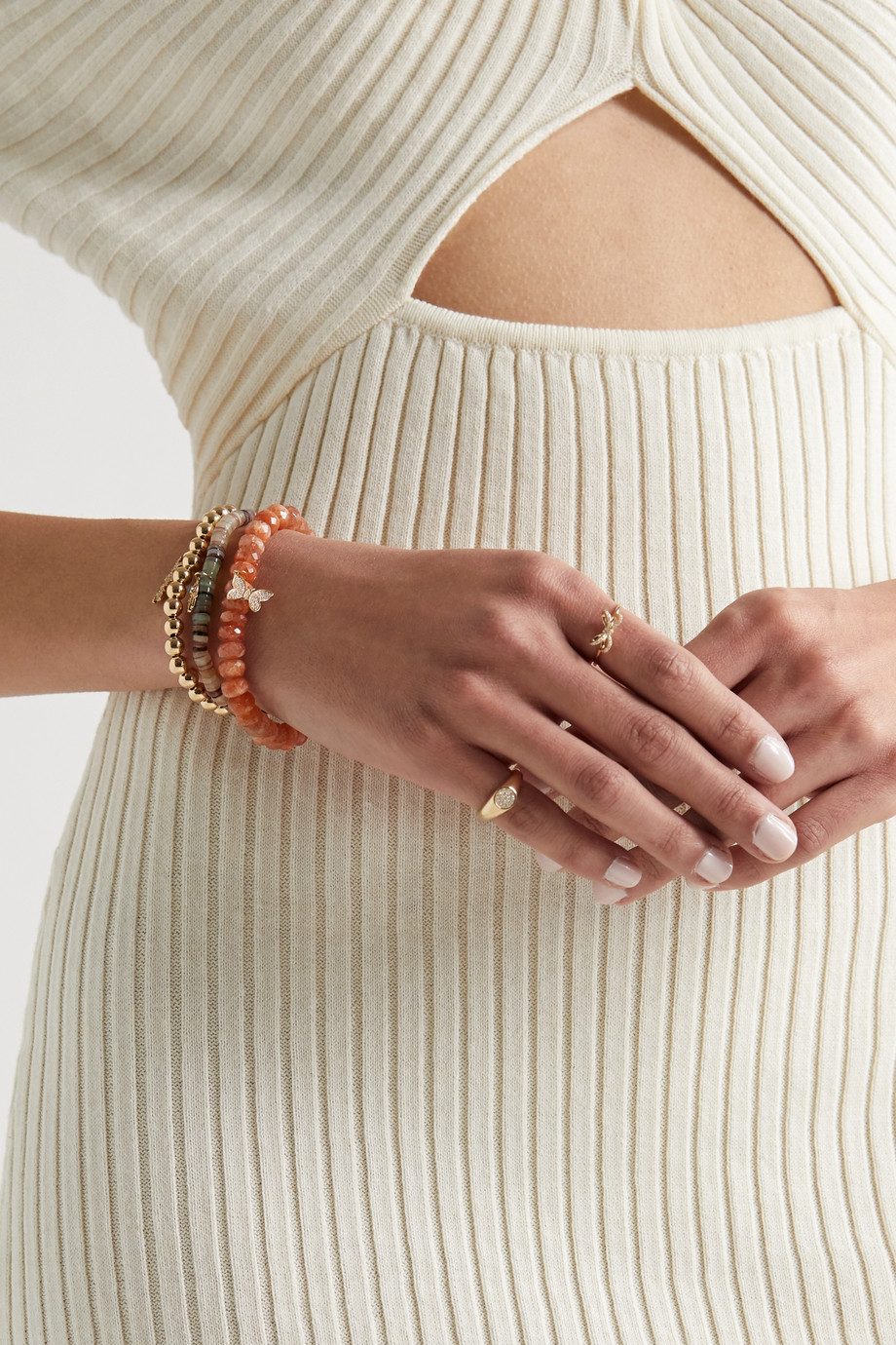 Sydney Evan 14-karat gold, sunstone and diamond bracelet