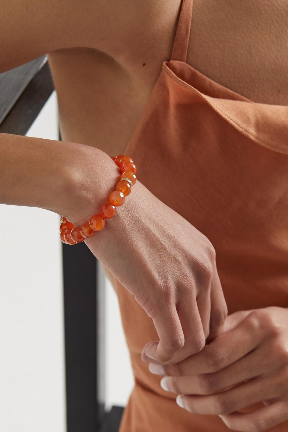 Sydney Evan 14-karat gold, carnelian and diamond bracelet