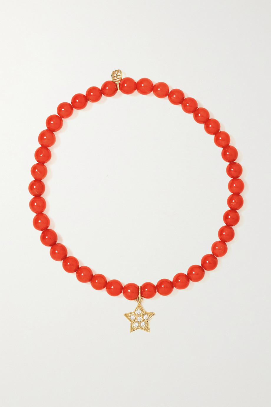 Sydney Evan Bracelet en or 14 carats, corail et diamants Small Star