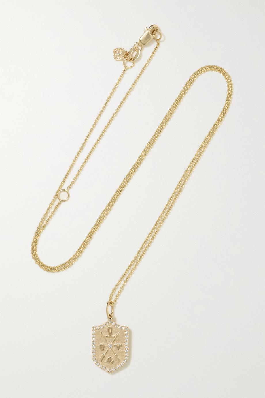 Sydney Evan Collier en or 14 carats et diamants Love Small