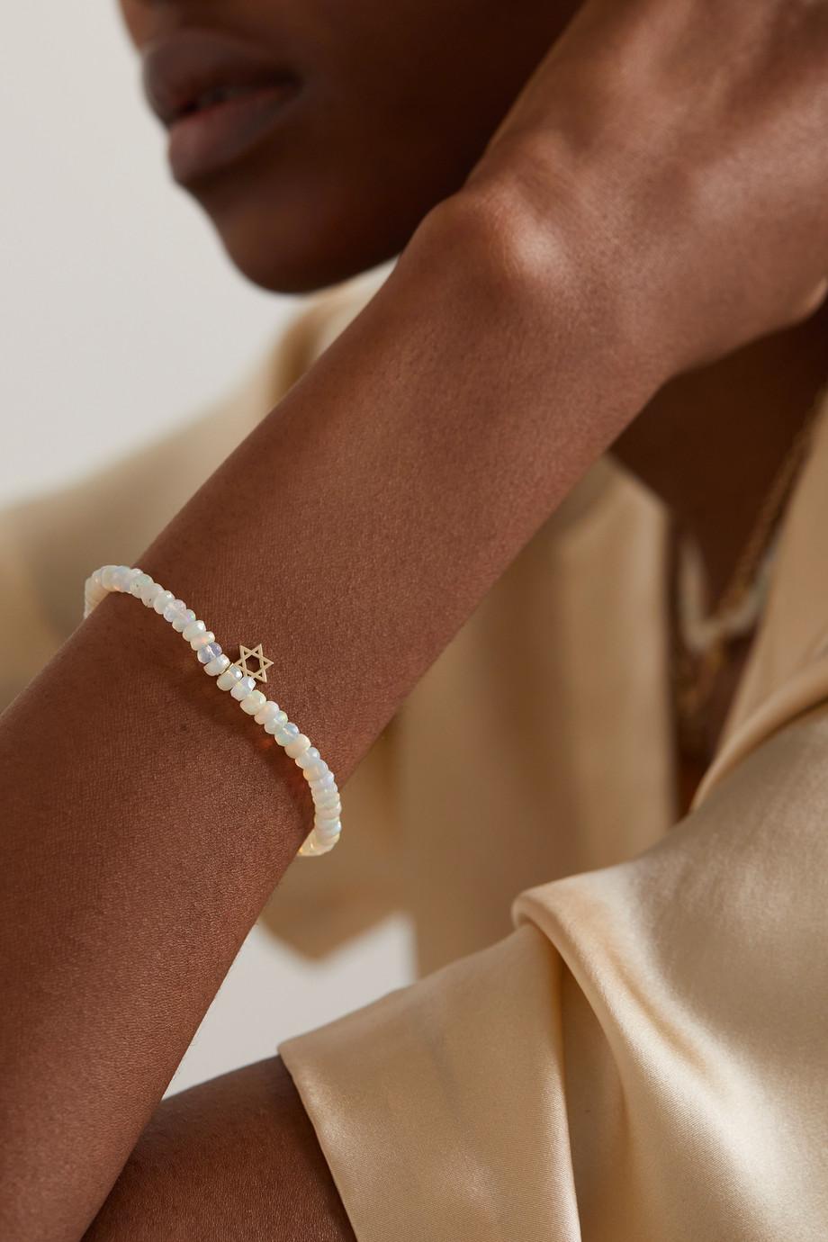Sydney Evan Tiny Star of David 14-karat gold opal bracelet