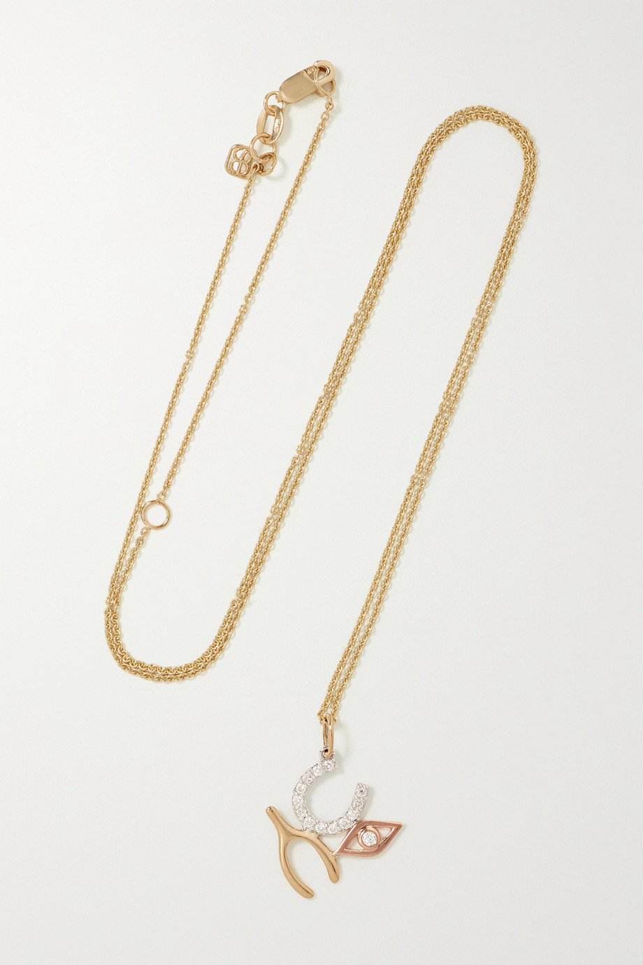 Sydney Evan Luck and Protection 14-karat yellow, white and rose gold diamond necklace
