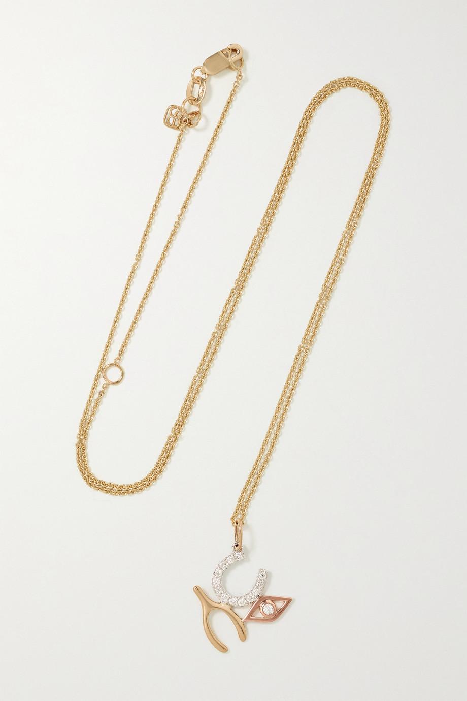 Sydney Evan Collier en or jaune, blanc et rose 14 carats et diamants Luck and Protection