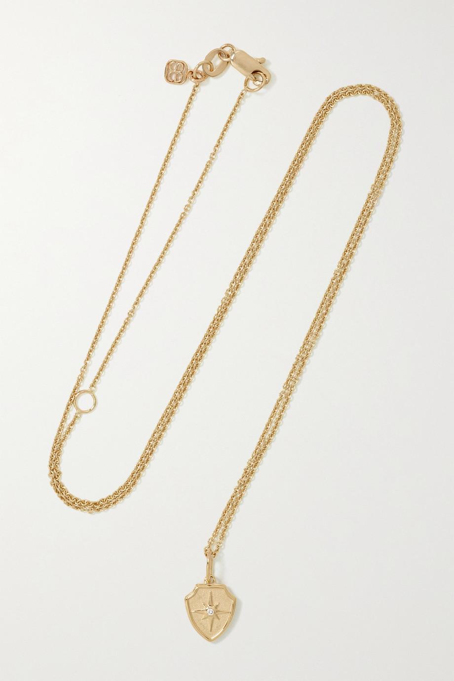 Sydney Evan Starburst Crest 14-karat gold diamond necklace
