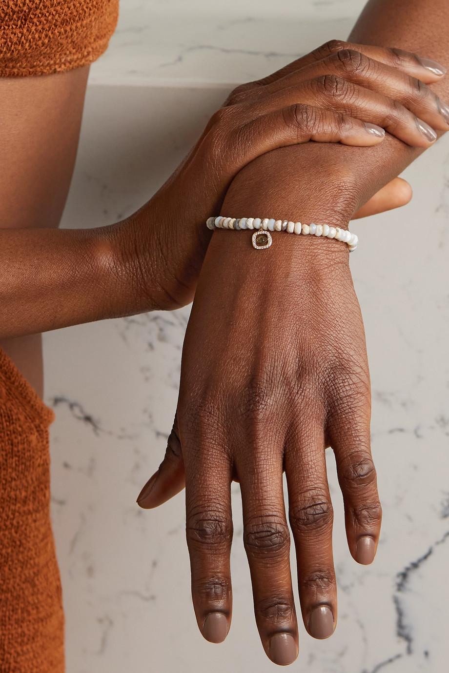 Sydney Evan Bracelet en or 14 carats (585/1000), pierres de lune et diamants Evil Eye