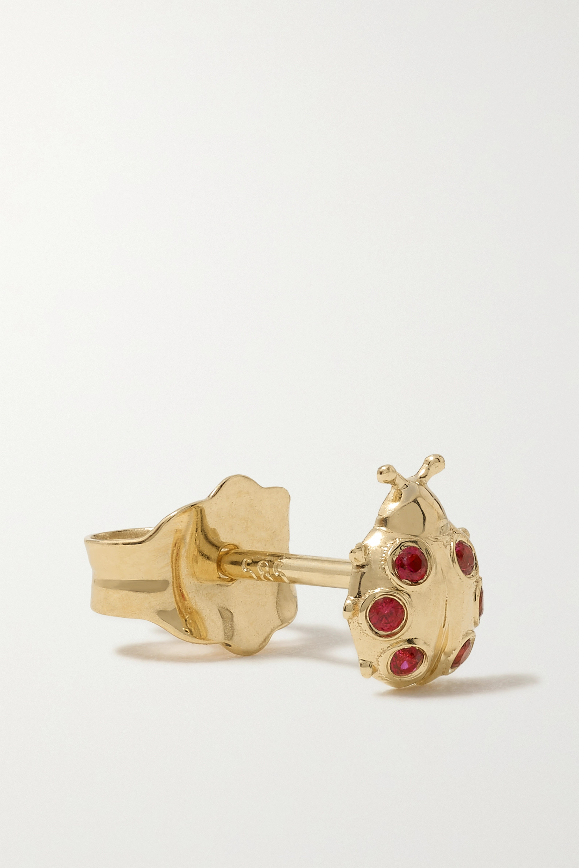 Sydney Evan Tiny Ladybug Ohrstecker aus 14 Karat Gold mit Rubinen