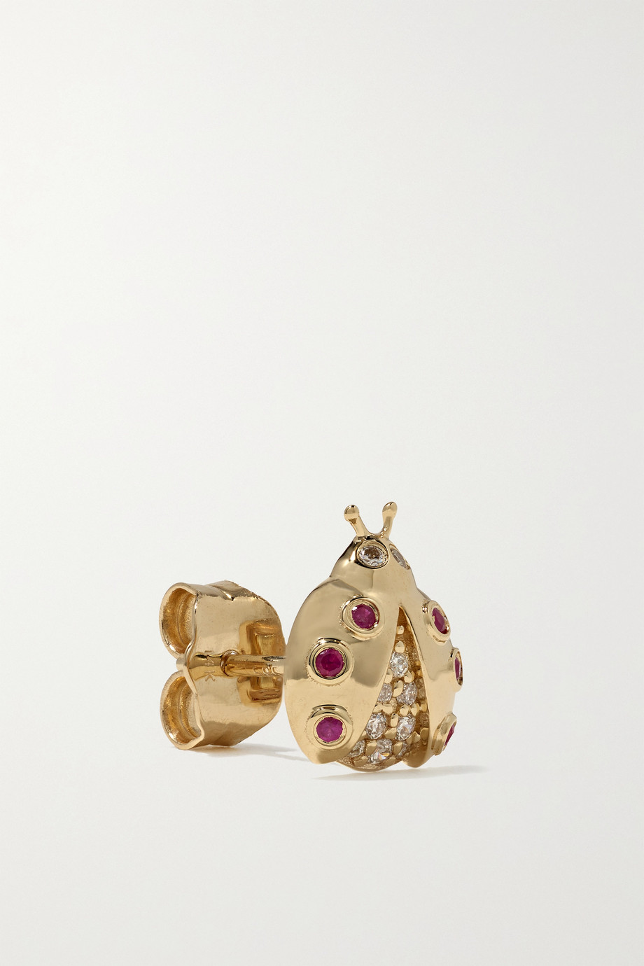 Sydney Evan Small Ladybug 14-karat gold, ruby and diamond earrings